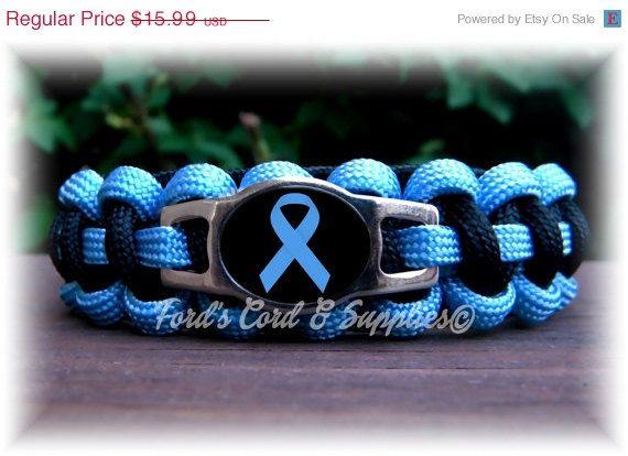 CIJ SALE Light Blue Awareness Paracord Bracelet Prostate Cancer, Addison's Disease, Edwards Syndrome, Scleroderma, Graves Disease, Behcets