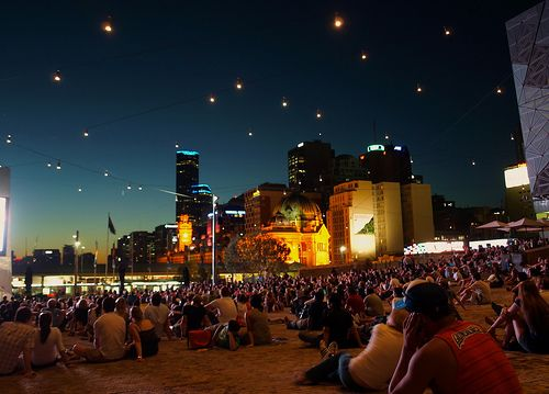 sunset in federation square melbourne