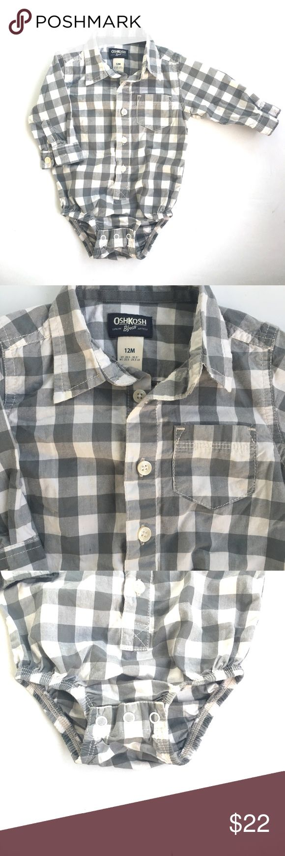 Gingham plaid long sleeve bodysuit shirt onesie Gently used. Bundle of these in the same size also avl for purchase. Osh Kosh One Pieces Bodysuits