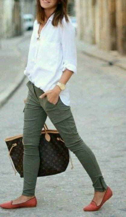 love the look of olive green with classic white button up shirt