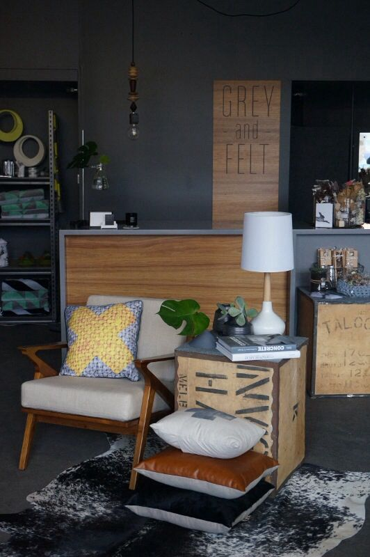 """➕one industrial cushions + cards in lovely new boutique home wares store """"Grey and Felt""""  in Sandy Bay, Tasmania. Hand-painted + handmade by Claire Webber, Hobart, Tasmania  For more info:  webberclaire1@gmail.com"""