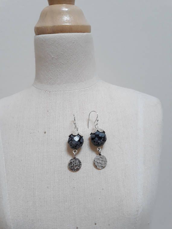 Snowflake Obsidian and beaten silver earrings.