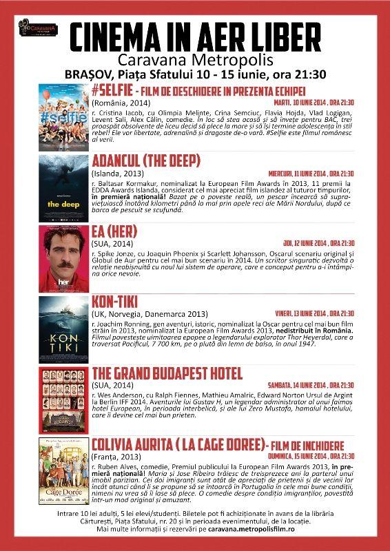 Caravana Metropolis aduce favoriţii marilor festivaluri de film la Braşov
