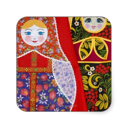 Het schilderen van Russische pop Matryoshka Vierkant Sticker