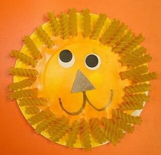 Lion craft using paper plate, paint, glue, noodles, markers and construction paper for nose and eyes