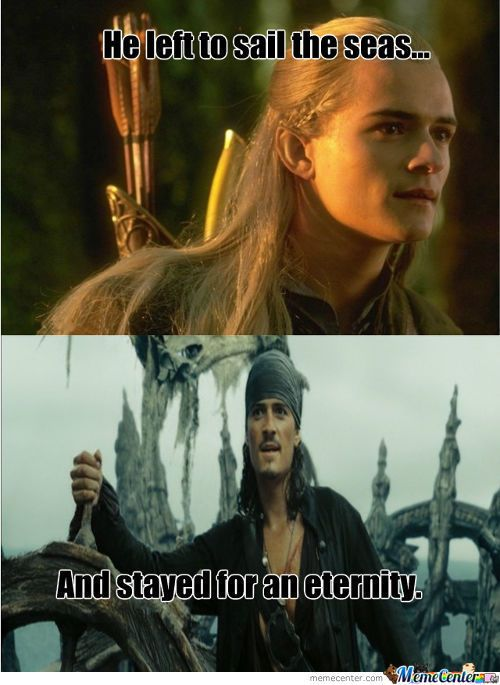 Yeah, because did anyone else realize that both Will Turner and Legolas (both played by Orlando Bloom) kind of share the same fate in the end?