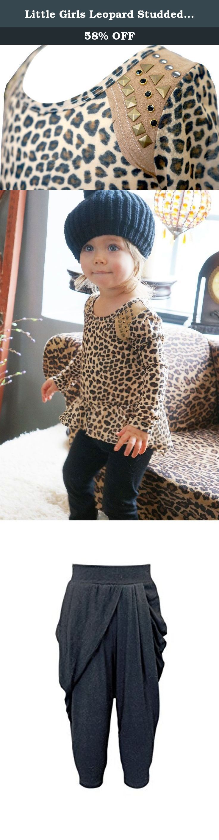Little Girls Leopard Studded Peplum Hi Low Top, 2T-4T (4T). Show off your rocker chic style in this hi low top by Baby Sara! The long sleeve top features a peplum hi low ruffle, leopard print throughout, and hotfix stud embellishments to complete the look! The perfect top to make her shine from the crowd!.