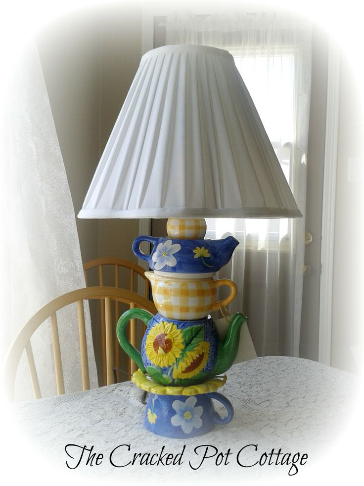 Blue and yellow lamp made from tea sets.