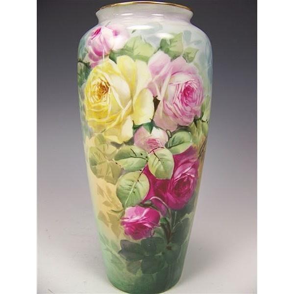 Beautiful Antique Porcelain Vase Hand Painted Victorian Roses Philip