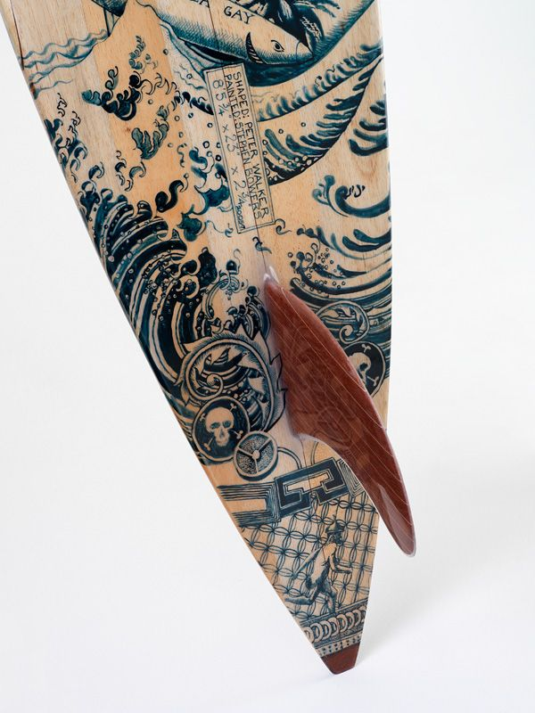 Single fin surfboard art--I dig the look of delicate Dutch tea china, or is is japonica? I dunno that girlie stuff too much, just know this is freaking awesome!