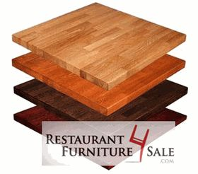 24-Inch by 30-Inch Butcher Block Solid Wood Restaurant Table Top - Red Oak Tables Available in Choice of Stain Color