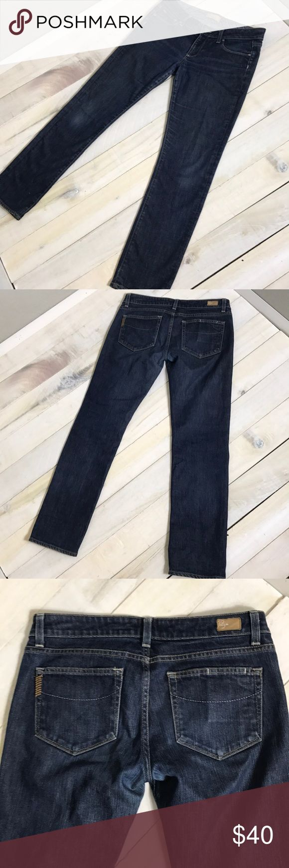 """Paige Roxbury Jeans size 30 Paige Roxbury Jeans size 30. Straight leg Waist- 17"""" Across  Rise- 8"""" Inseam- 29.5"""" 98% Cotton, 2% Spandex Some lighter patches from wear at the knee as shown. PAIGE Jeans Straight Leg"""