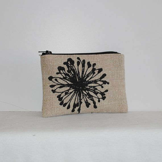 "Little Zipper Pouch  Dandelion Black Denton. Exterior:  81% Cotton, 19% Rayon home decor with full lining  5"" zipper closure   Interior:  Bottom weight cotton twill  Size: H: 9 cm / 4 inches  W: 14 cm / 5.5 inches"