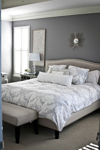 Gray and white bedroom....calming.  This blogger has a keen eye for design.