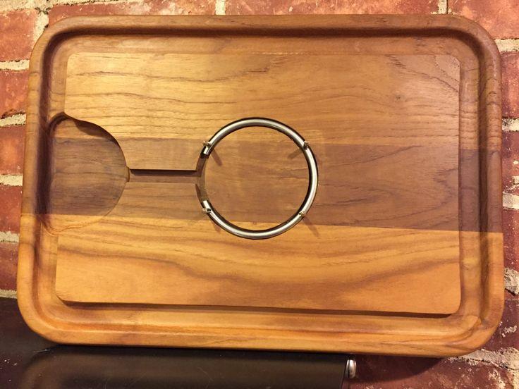 Julie Pomerantz Goodwood Teakwood Carving Board with metal Meat Holder in Original Box and Never Used by MissHavishamsShop on Etsy