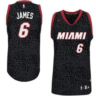 Men's NBA Miami Heat #6 Lebron James Crazy Light Swingman Black Jersey