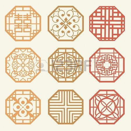 Korean old of Window Frame Symbol sets. Korean traditional Pattern is a Pattern Design. Stock Photo - 19331163