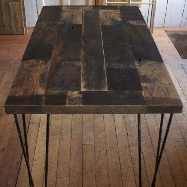 Reclaimed Railway Oak Table   French antique Oak reclaimed from railway carriages circa 1950s. This French Oak exudes character from all those years of rail travel and has a beautiful flowing grain. These table tops are made to order therefore can be made to any style, with hairpin legs or a an industrial steel frame.