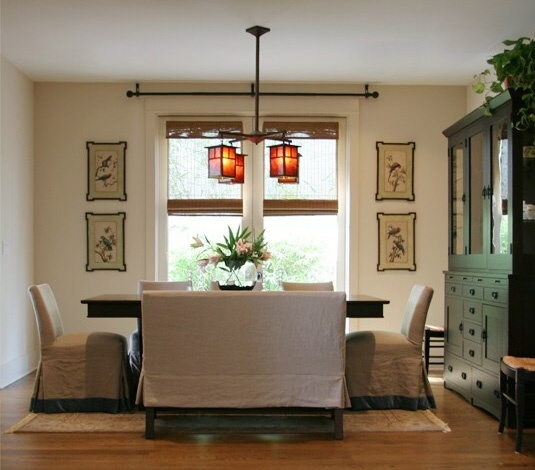 Dining Room Featuring Quatrine Slipcovered Parsons Dining