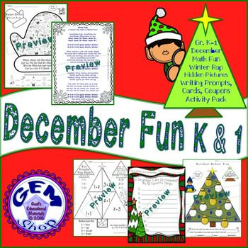 """This fun 31 page pack contains many differentiated activities with answer keys:Hidden Mitten Picture FunMerry Tree Elf Art (Boy and Girl varieties)WINTER RAP (ABACA Form) - Very Popular with Kids!Triangle Tree Math and Counting PuzzlesWriting Prompts - """"My Story About Mittens"""" with large and smaller spacingWriting Prompts - """"What I Like About December""""Writing Prompts - My 10 Favorite ThingsGreeting CardsYou may also this Gem Shop Activity: Music, Lessons, Rhythms, Adding, Subtracting"""