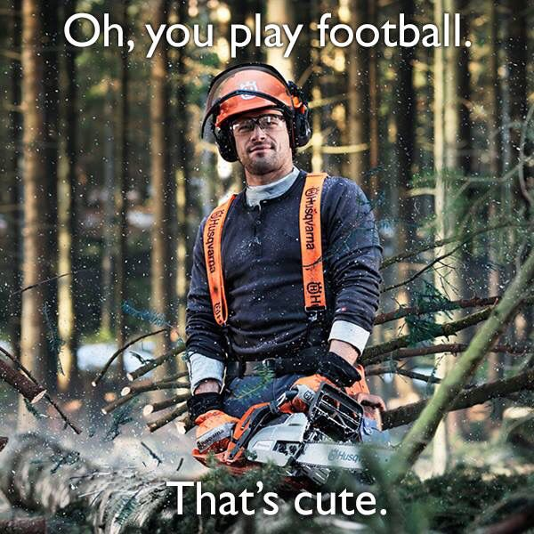 Husqvarna chainsaw post from Super Bowl weekend.