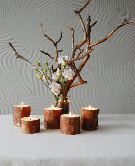PINJEAS 2pc wooden candleholders rustic Tree Branch candleholders wood candles Rustic Home Decor nature rural candlestick