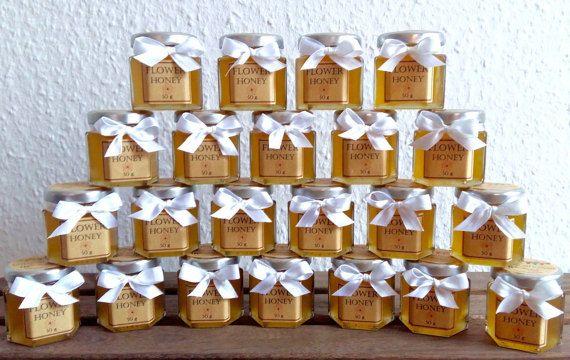 Honey jar Wedding favors/honey favour/baby by AliasTasteOfNature