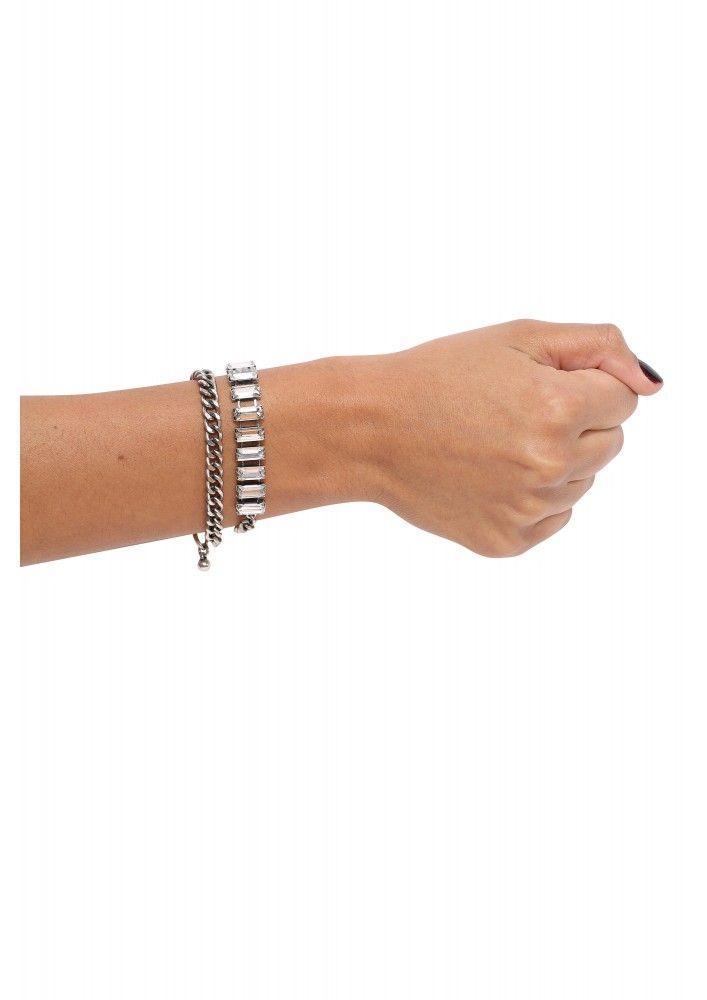 JOA Double Up Chain Bracelet in Silver | Get superb discounts up to 50% Off on selected items at Necessary Clothing with Coupons.