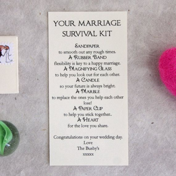 Personalised Wedding Gift Marriage Survival Kit by LittleLetterUK