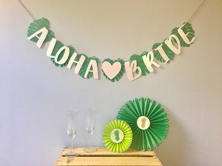 ALOHA BRIDE/BEACHES Banner | Tropical Bridal shower | Pineapple Flamingo Decorations | Bachelorette Party | Birthday | Green Gold Glitter by PaperQueenz on Etsy https://www.etsy.com/listing/519441418/aloha-bridebeaches-banner-tropical