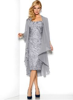 Sheath/Column Sweetheart Off-the-Shoulder Knee-Length Lace Mother of the Bride Dress With Lace