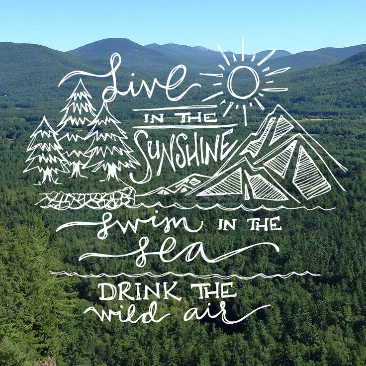 "Hand lettering by Sea of Atlas | """"Live in the sunshine, swim in the sea, drink the wild air."""" - Ralph Waldo Emerson"