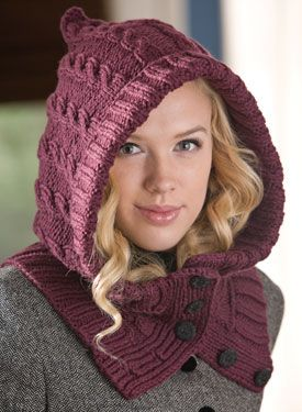 Through the Woods Hooded Neck Warmer & Cuffs, from the eBook While They Play by Kalurah Hudson. Shown in Purple Wool of the Andes Bulky.