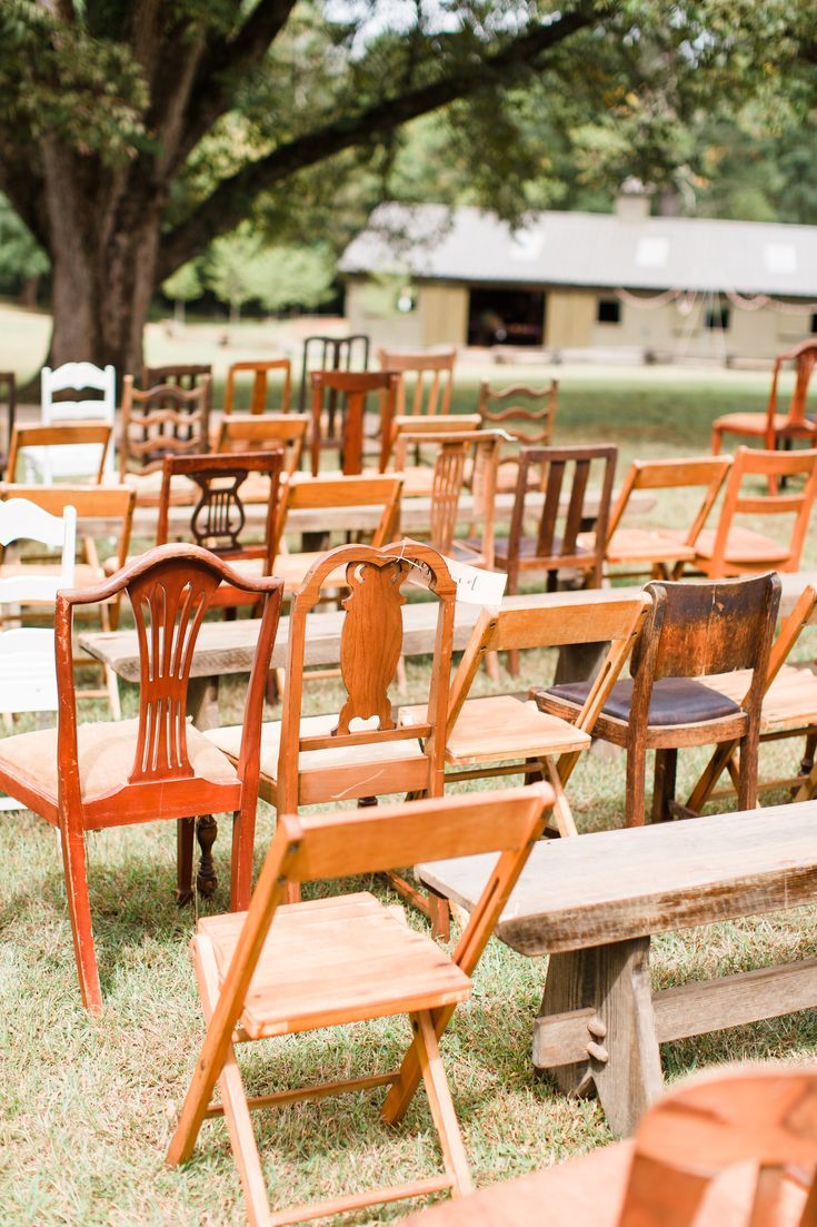 Mismatched Vintage Wooden Ceremony Chairs In It For The