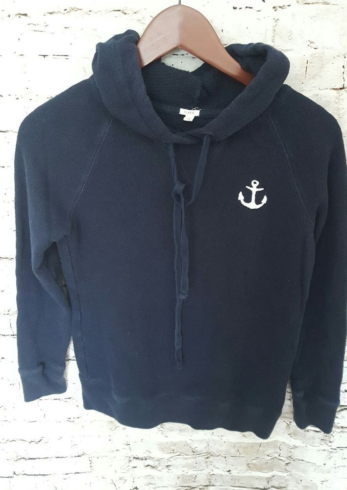 J.Crew Women's Anchor Sweater Hoodie,  size XS Navy White Anchor Nautical #JCrew #Sweater #anchor #nautical #preppy