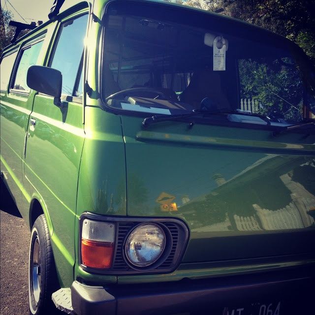 Toyota 1981 Hiace with the best green paint job. Love.