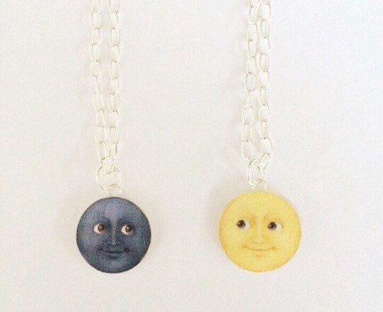 Clay moon emoji necklace polymer clay jewelry by KawaiiCreationz