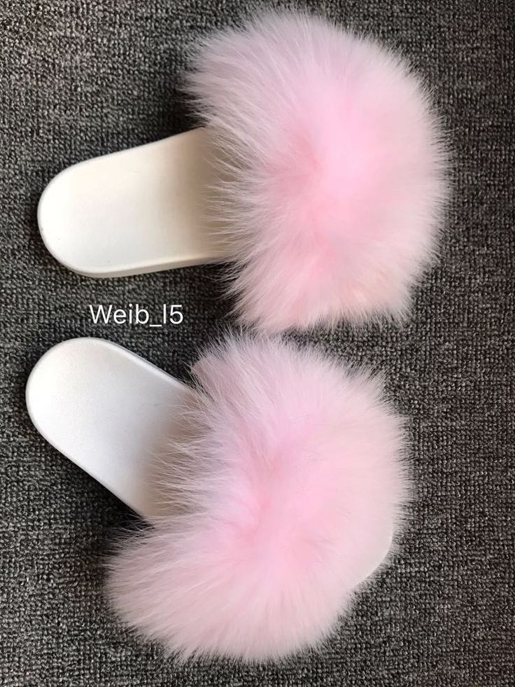 Woman Lolita Fluffy Plushed Fox Fur Slippers Big White Pink Fur Slipper Sandals #Unbranded #SlipperShoes