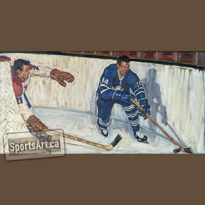 Behind the Net - My large painting features Toronto Maple Leafs legend Dave Keon; more than that, it captures the rich textures of the boards free from advertising, the expansive space behind the net, and a more innocent time with the vintage era Original Six game.