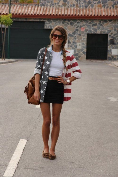 teenvogue:    Fashion Click blogger Jessie Chanes adds a playful and patriotic punch to her look with an oversized American flag-printed buttondown. Learn more about her ensemble here»