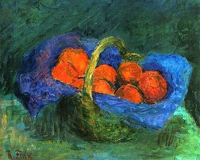 1910 Oranges in a basket. Robert Falk was of the founders and the most active participants of artistic group Jack of Diamonds. The group considered Paul Cézanne the only painter worth following, and the rest of visual art to be too trivial and bourgeois. The distinctive feature of Falk's paintings of the time was sculpturing of the form using many layers of different paints.
