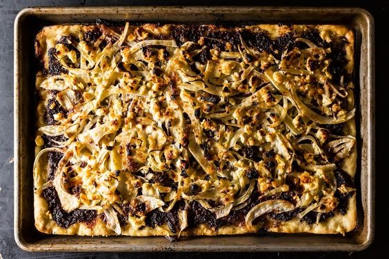 Grilled Fennel Flatbread with Olives and Sultanas, a recipe on Food52