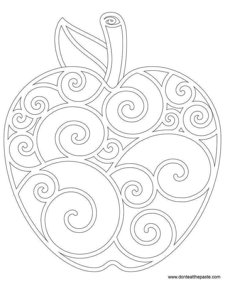 šablona na jablíčko - okraje bílou voskovkou, dobarvit anylinkama