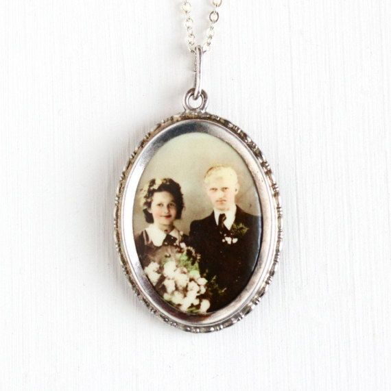 Vintage Art Deco Photographic Pendant Necklace - 1930s WWII Era Old Stock Germany Silver Plated Celluloid Young Couple Picture Jewelry