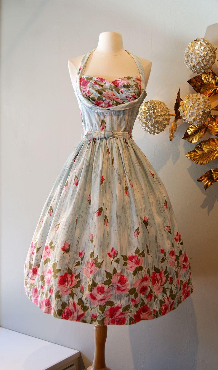 vintage dress / 1950s rose print halter dress at Xtabay. xtabayvintage.com
