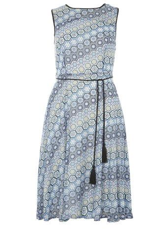 Chiffon geo printed midi dress