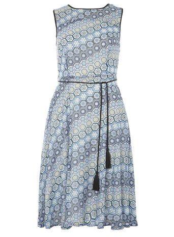 Chiffon geo printed midi dress