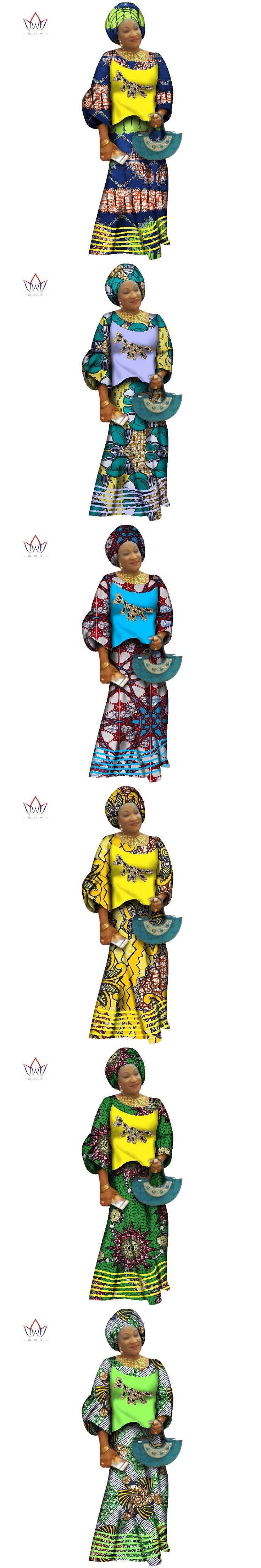 Free Headscarf  2017 Traditional African Skirt Set for Women Dashiki  Plus Size African Clothes Elegant Party Dress BRW WY2574