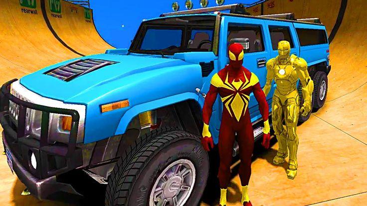 Gold Costume Spiderman & Ironman Big Hammer Car Nursery Rhymes ...