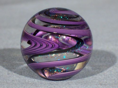 Marbles: Hand Made Art Glass James Alloway Dichroic Marble #1594 1.2 inch - Avail eBay. <3<3<3GORGEOUS PURPLE SWIRLS W' DICHROIC GLITTERY SHIMMERS THROUGHOUT<3<3<3 @